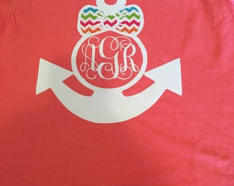 Monogrammed Anchor with chevron bow
