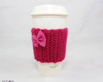 Bow coffee cozy, coffee sleeve