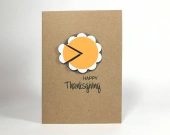 Happy Thanksgiving Pumpkin Pie Card - Autumn Fall card - Turkey - Harvest - Thank you