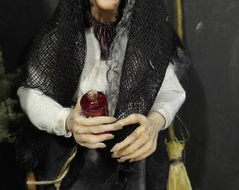 DOLLHOUSE DOLL miniature - witch - OOAK – Scale 1/12 -  by Maria Jesus Chaparro