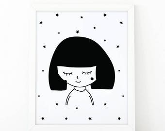 Girl illustration, cute girl, Monochromatic art, Illustration, girl print, Black and White, Nursery Art, digital prints, scandinavian art
