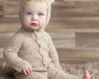Sitter Bear Hooded romper, Sitter size, Baby Jumpsuit,Knitted Overalls,Europe,Photo props,Knit Hooded  Onesie,Toddler size