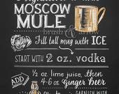 Moscow Mule Signature Drink printable, chalkboard style instant digital download