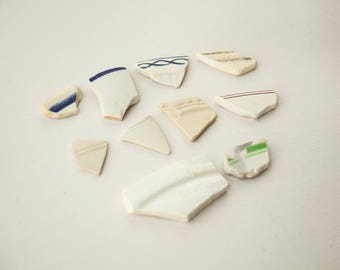Seapottery dish edges English sea pottery Surf tumbled Ocean worn Beach find Mosaic tiles Reclaimed salvage vintage Smoothed broken china