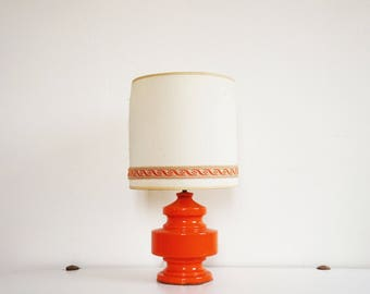 Large ceramic lamp orange vintage 70s
