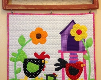 Peaches Quilt Creations Strut'n and a Cluck'n Applique Quilt Wall Hanging Pattern