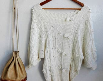 Knitted Sweater Outer, Vintage Clothing // Vintage White Top