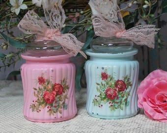 A set of 2 Shabby Chic Vintage Painted French Decor Decoupage Mason Jars