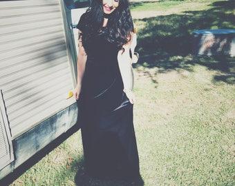 Vintage Black Velvet Cap Sleeve Lace Back Dress