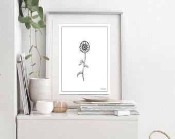 Sunflower Wall Print | Sunflower Printables | sunflower Art Prints | Sunflower Wall Print | Sunflower Painting | Kitchen Wall Art | Flower