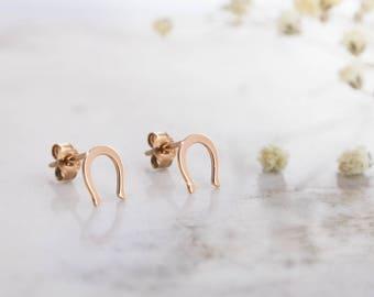 Gold Horseshoe Earrings, Solid Gold Earrings, Good Luck Studs, 14K Gold Earrings, Rose Gold, Lucky Earrings, Gift For Her, Lucky Horseshoe