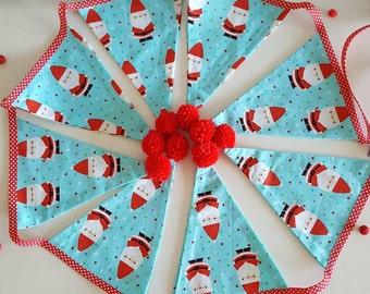 Santa bunting- santa pom pom bunting- festive bunting- christmas bunting- christmas gift- christmas decor