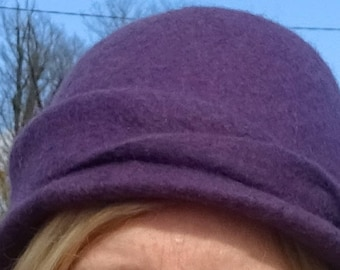 Felted Merino Wool hat in purple with detachable flower embellished with silk