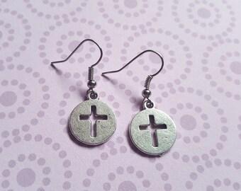 Cross earrings, Cross coin earrings, Dangle earrings, Cross, Crosses, Cross jewellery, Cross coins, Coin earrings, Gifts for her, Religion