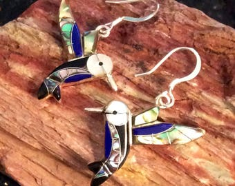 Native American Hummingbird Earrings Sterling Silver Inaid with Lapis, Abalone Shell, Black Onyx and Mother of Pearl