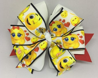 Emoji Bow, Emoji Hair Clip, Small Bow, Baby Bow, Toddler Bow, Bows for Girls, Custom Bows, Hair clips for girls, Girl Bows, Emoji Movie
