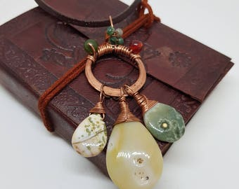 Ocean Jasper; Gemstone pendant; Copper pendant; Jade; Carnelian; Boho necklace; Leather; Cluster necklace; Ocean jasper pendant;