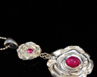 Clearance (60%) fine silver rose with ruby and pink calcedony