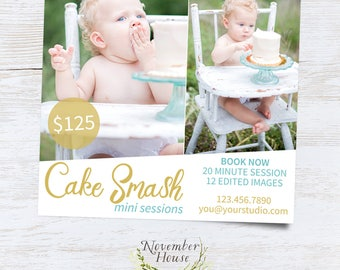 Cake Smash Mini Session, Family Photography Marketing, Mini Session Template For Photographers, Photoshop Template, Instant Download