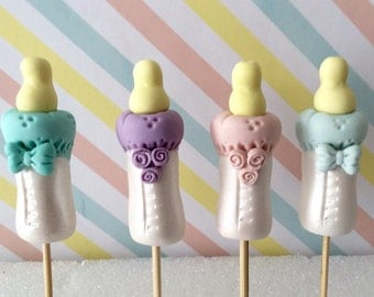 Baby shower 6 cute Feeding Bottles fondant cupcake toppers,Gender Reveal baby bottles
