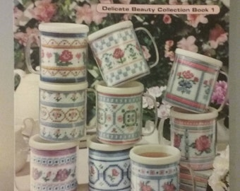 Leisure Arts Floral Mugs in Plastic Canvas