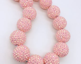 Pink Chunky Rhinestone Necklace - Solid Pink Sparkle Flower Girl Necklace - First Birthday - Super Size  Pink Rhinestone Bubblegum Necklace