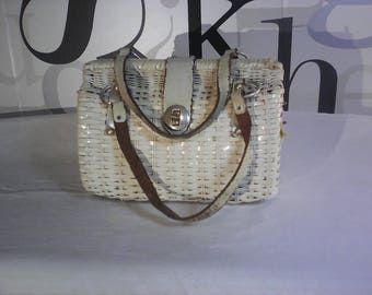 Vintage John Hort White Wicker Basket Style Purse with Leather Straps and Latch Made in Hong Kong  FREE SHIPPING