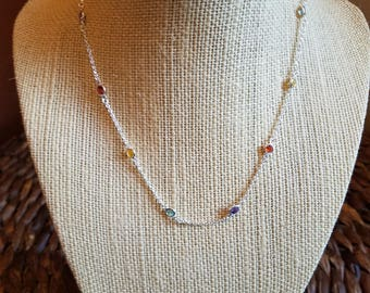 Sterling and Multicolor Crystal Necklace