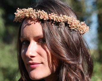 Baby's Breath crown, flower crown, preserved flower, boho bridal wreath, bridal hairstyle, pink bridal circlet
