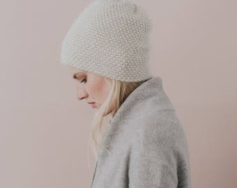Alpaca Knit Hat//Knitted Toque//Luxury Hat//Beige Hat// Blend of Alpaca Wool and Silk// Sand Colour