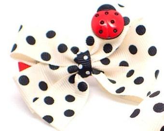 2 Pc Small hair bows toddler girls hair bows girls hair clips ladybird bow hair clip little girls hair bows toddler hair accessory bow clip