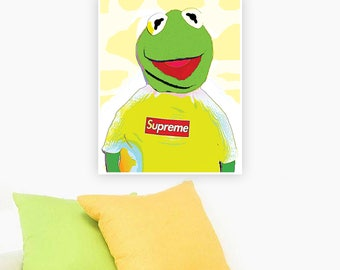 Supreme Kermit Poster Kermit Supreme Print Instant Download Kermit Wall Art Kermit The Frog Print The Muppets Print Wall Decor Supreme Art