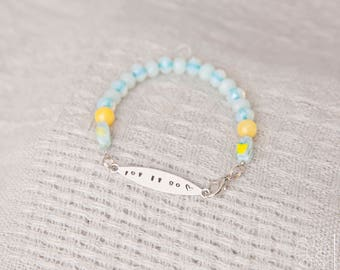 Let it go bracelet, metal stamped, beads, clasp, jewelry, silver, nickel free, lightweight, handmade, yellow, white, gift, blue