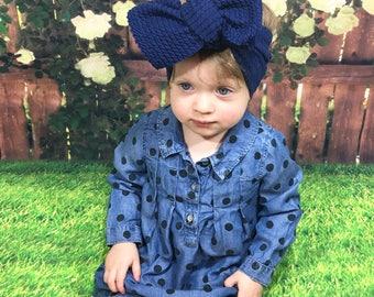 Navy Knit Headwrap- Headwrap; Stretchy Headwrap; Baby Headband; Toddler Headband; Baby Headwrap; Toddler Headwrap; Stretchy Head Wrap