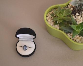 Ring Silver 925 and semi precious stones, kyanite cabochon