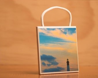 Ceramic Tile Wall Art, Tybee Island Lighthouse at Sunset, hanging, Home Decor, 4x4, Art and Collectibles, home and living, gift, souvenir