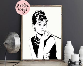 Audrey Hepburn Print, Breakfast at Tiffany's, Audrey Hepburn Art, Coco Chanel, Tiffany's Printable, Art Print