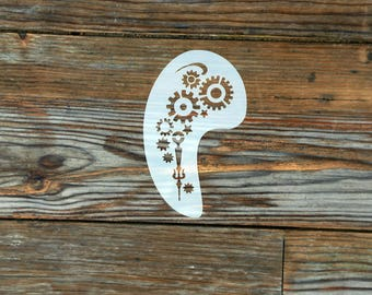 Steampunk Cogs Face Painting Stencil approx 12cm x 8cm Washable and Reusable