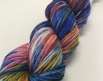 Hand Dyed Yarn Oddball Deep Royal Blue Multi Rainbow 100g/225m DK Double Knitting 75/25% Superwash Merino/Nylon Mulesing Free