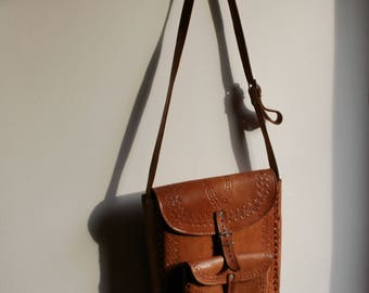 Leather bag, Leather messenger bag, Mens leather bag, Tooled leather bag, Tooled leather messenger, Handmade leather bag, Leather office bag