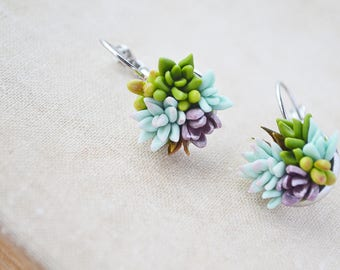 Succulent earrings Succulent gifts Succulent Jewelry Mint Terrarium jewelry Botanical jewelry Polymer clay jewelry Plant Earrings Post