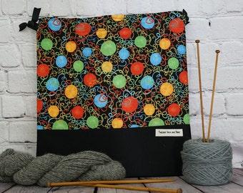 Balls of Yarn,  Knitting Project Bag, Crochet Bag, Yarn Bag, Shawl Project Bag, Project Bag, Sock knitting bag