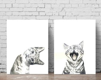 Cat Print Set Of 2 Watercolor Prints Cat Art Illustration Cat Lover Gift Black White Minimalist Living Room Decor Wall Art Prints