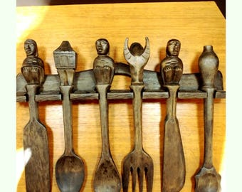 Reserved for Izzie - Antique African Hand Carved Wood Utensils Set of 6 with Rack Holder - Rare