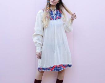 Vintage 70's Embroidered Midi Dress - S