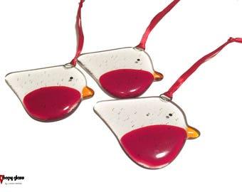 Fused Glass Robin - Christmas tree decoration - Holiday Decoration - Robin decoration - Fused glass - Handmade - Glass Robin - Christmas
