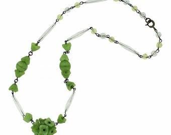 1930s Czechoslovakian Glass Flower Vintage Necklace