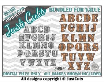 Two alphabet sets - fall svg - halloween svg - spider svg - letter svgs - halloween letters - layered svg - EPS - DXF- svg, fonts, font