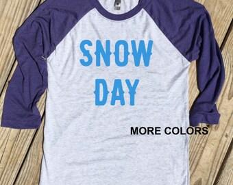 Snow Day - Winter Raglan Tee - Choose your vinyl color!