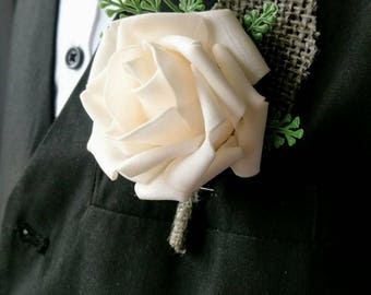 Ivory and hessian wedding buttonhole 4 pack